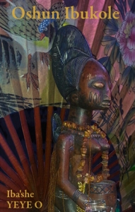 poster image for Oshun Ibukole, Oshun statue at Moisture, Waters Ritual 2014 sitting in front of a fan