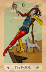 The Fool tarot card, antique image