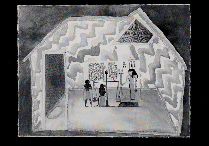 Ma'at's House, B&W postcard version, 4x6 inches, © 1984, 1988