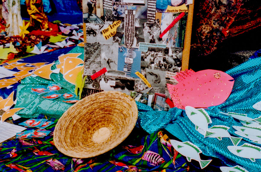Center of altar showing basket and collage